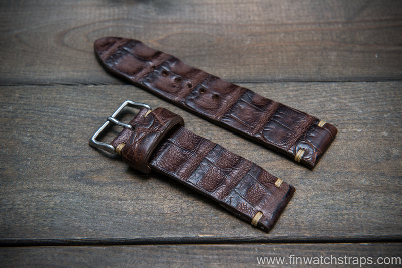 Alligator watch strap, Vintage Tobacco,  handmade in Finland