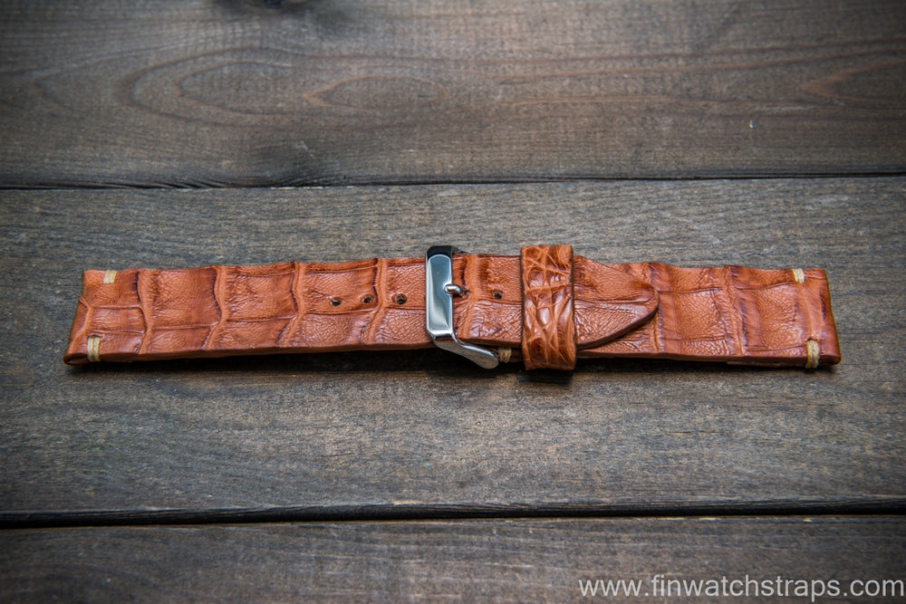 Alligator watch strap, Vintage Cognac,  handmade in Finland