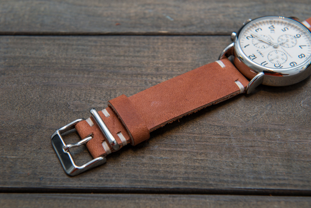 Chestnut Outland Horween leather watch strap, handmade in Finland - 16mm, 17mm, 18mm, 19 mm, 20mm, 21 mm, 22mm, 23 mm, 24mm - finwatchstraps