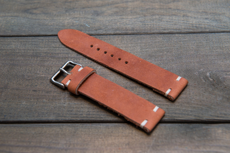 Chestnut Outland Horween leather watch strap, handmade in Finland - 16mm, 17mm, 18mm, 19 mm, 20mm, 21 mm, 22mm, 23 mm, 24mm. - finwatchstraps