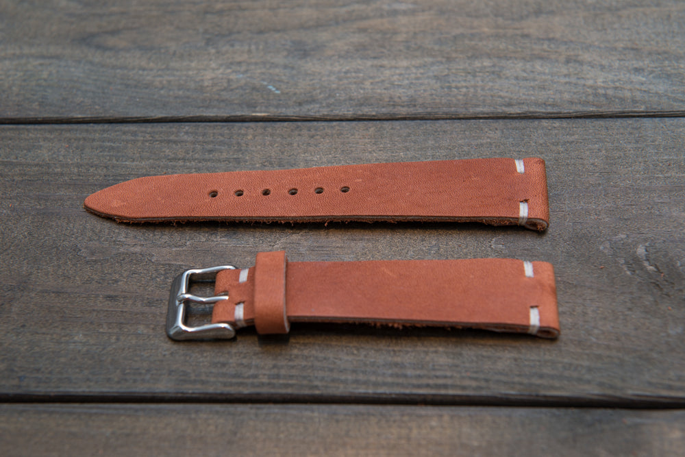 Chestnut Outland Horween leather watch band, handmade in Finland. Tapered size: 26/22mm, 25/22 mm, 24/20mm, 23/20 mm, 22/18 mm, 21/18 mm, 20/16 mm, 19/16 mm