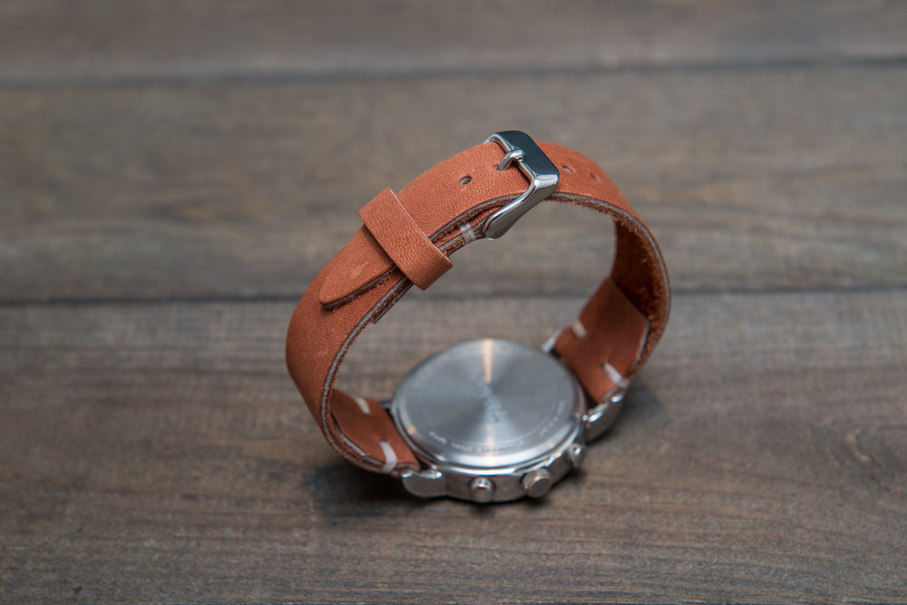 Chestnut Outland Horween leather watch strap, handmade in Finland - finwatchstraps