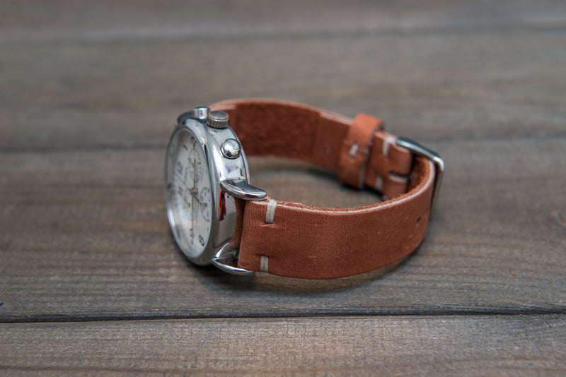 Chestnut Outland Horween leather watch strap, handmade in Finland