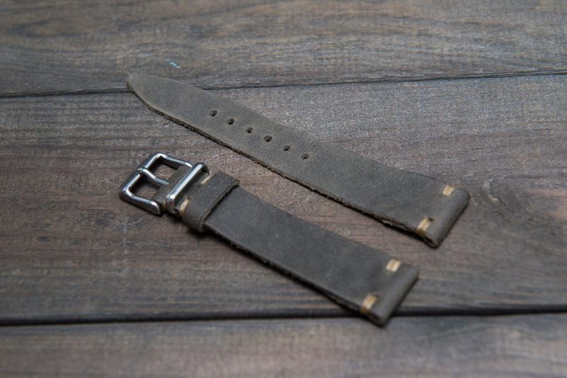 Military Grey Horween leather watch strap, handmade in Finland - 18mm, 19 mm, 20mm, 21 mm, 22mm, 23 mm, 24mm, 25 mm, 26mm.