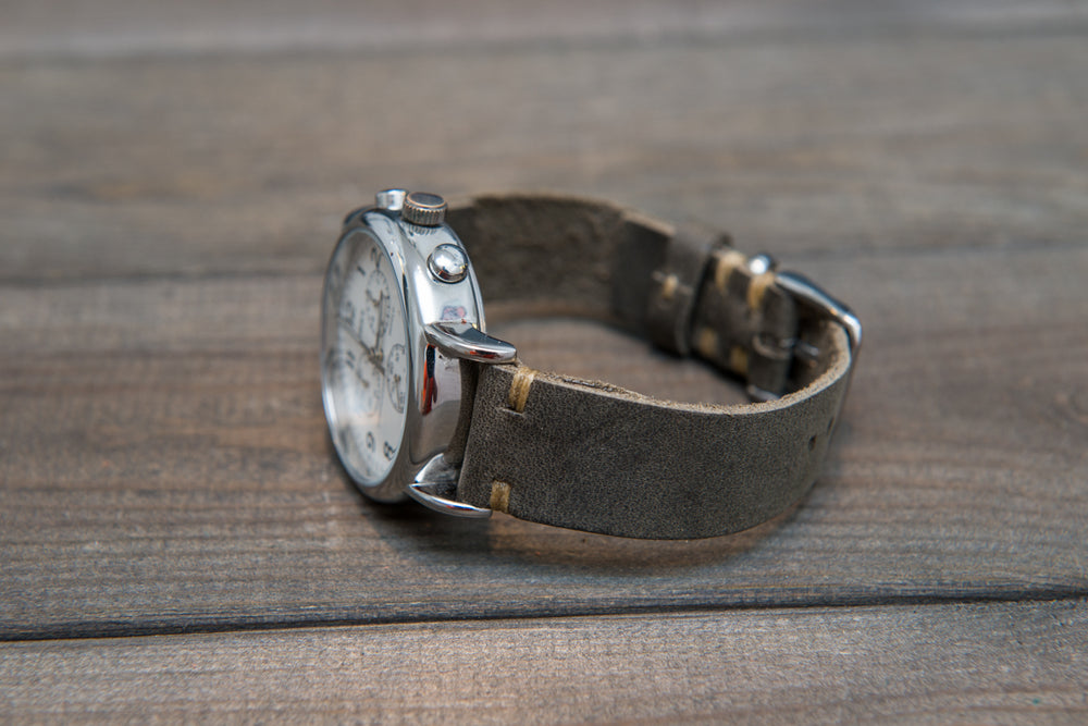 Military Grey Horween leather watch strap, handmade in Finland - 18mm, 19 mm, 20mm, 21 mm, 22mm, 23 mm, 24mm, 25 mm, 26mm. - finwatchstraps