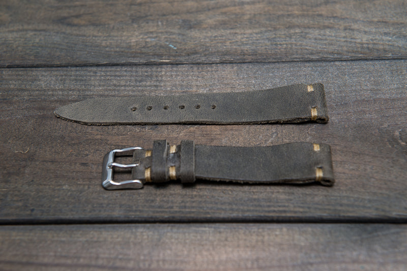 Military Grey Horween leather watch strap, handmade in Finland - 16mm, 17 mm, 18mm, 19 mm, 20mm, 21 mm, 22mm, 23 mm, 24mm, 25 mm, 26mm.