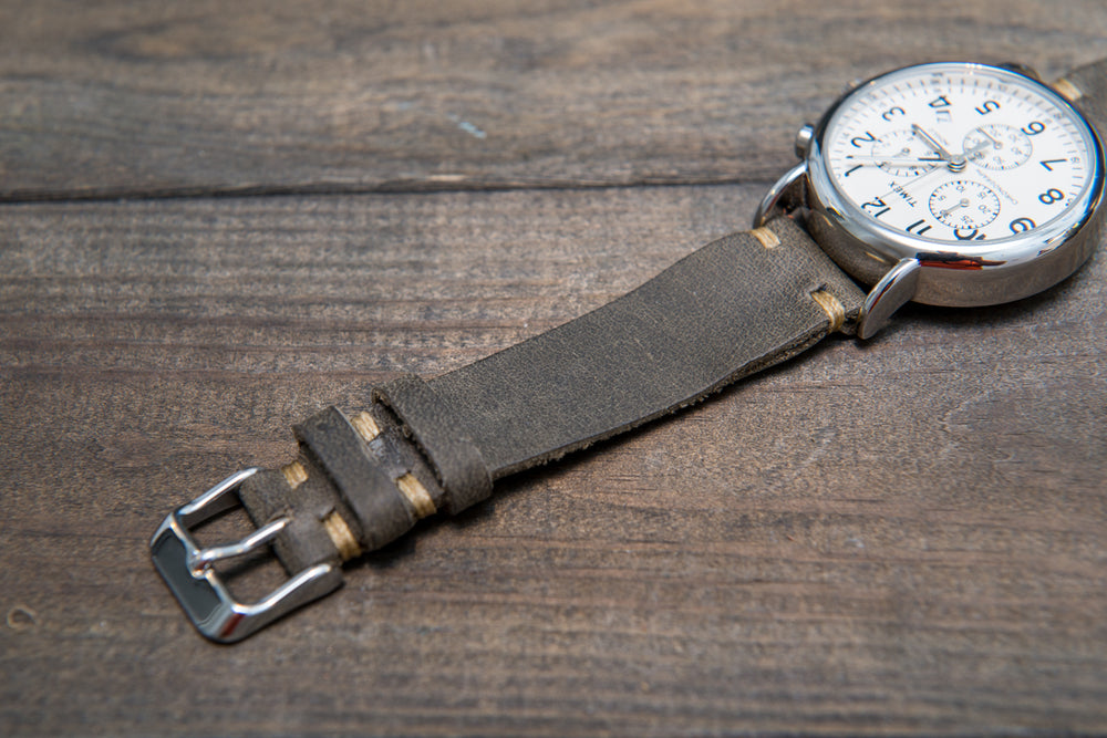 Military Grey Horween leather watch strap, handmade in Finland - 16mm, 17 mm, 18mm, 19 mm, 20mm, 21 mm, 22mm, 23 mm, 24mm, 25 mm, 26mm. - finwatchstraps