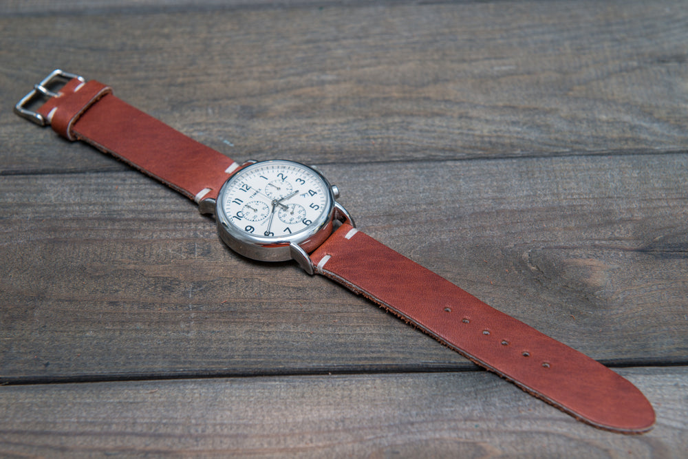 Rust Inferno Horween leather watch strap, handmade in Finland - 18mm, 19 mm, 20mm, 21 mm, 22mm, 23 mm, 24mm, 25 mm, 26mm. - finwatchstraps