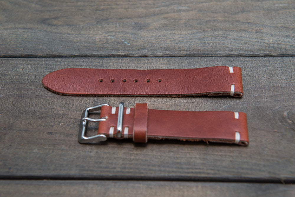 Rust Inferno Horween leather watch strap, handmade in Finland - 18mm, 19 mm, 20mm, 21 mm, 22mm, 23 mm, 24mm, 25 mm, 26mm.