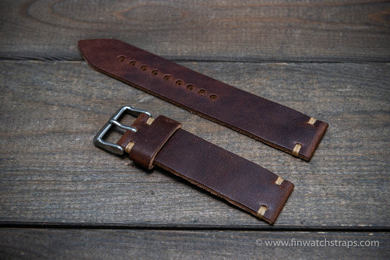 Leather watch strap, Horween Derby Nut Brown.  Handmade in Finland. 16-26 mm.