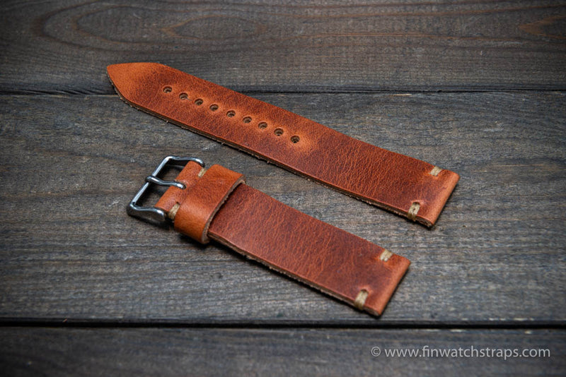 Leather watch strap, Horween Dublin Cognac.  Handmade in Finland. 16-26 mm.