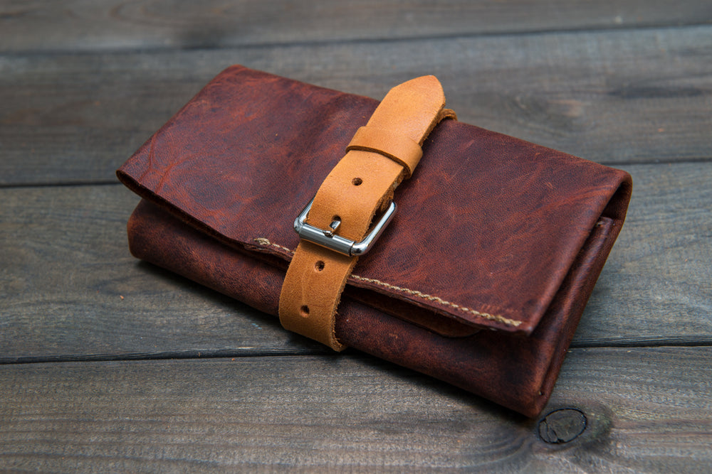 Vintage Horween leather watch roll / watch case for wrist watch organising - finwatchstraps