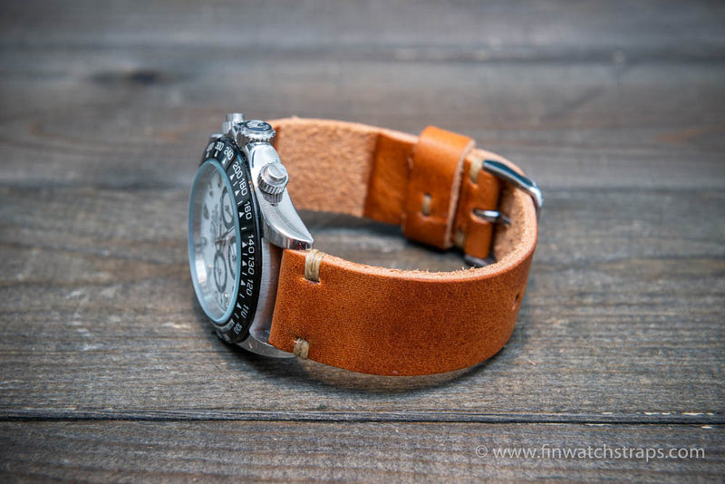 Leather watch strap, Horween English Tan.  Handmade in Finland. 16-26 mm.