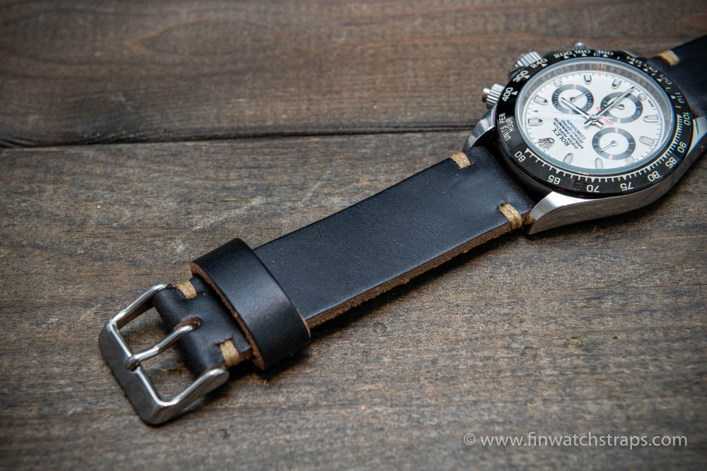 Leather watch strap, Black Chromexcel Horween.  Handmade in Finland. 16-26 mm.