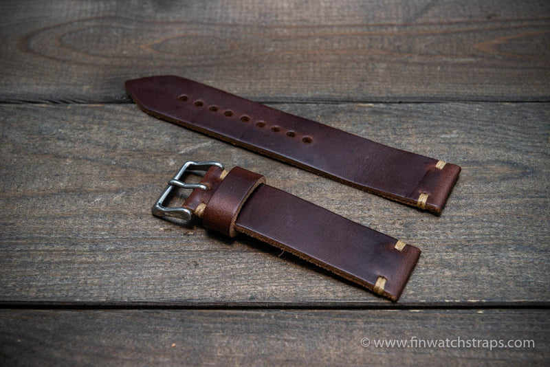 Leather watch strap, Horween Dark Brown Chromexcel.  Handmade in Finland. 16-26 mm.