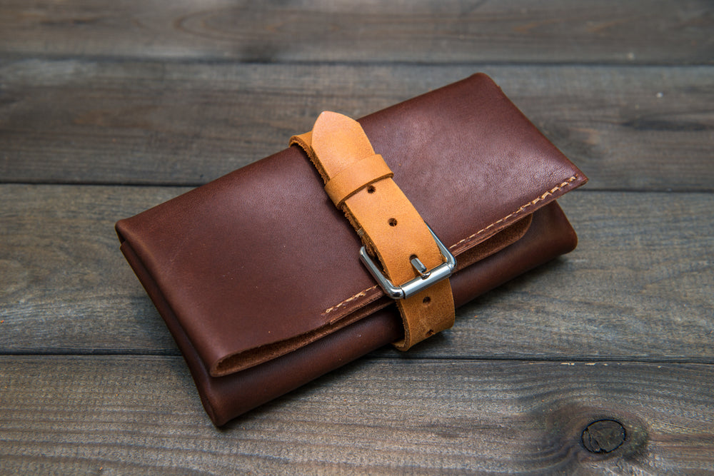 Vintage Fireweed Italiano leather watch roll / watch case for wrist watch organising - finwatchstraps