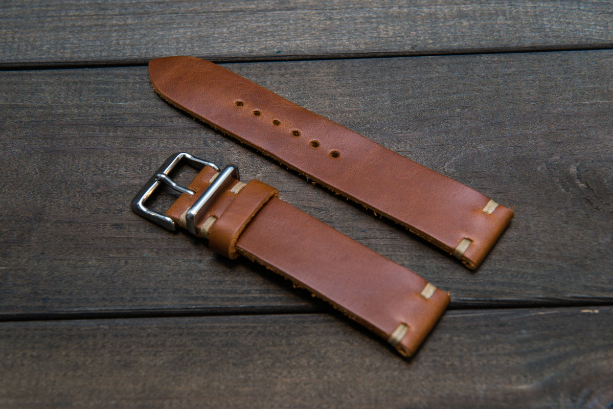 Whiskey Cavalier leather watch strap, handmade in Finland - 16mm, 17 mm, 18mm, 19 mm, 20mm, 21 mm, 22mm, 23 mm, 24mm, 25 mm, 26 mm. - finwatchstraps