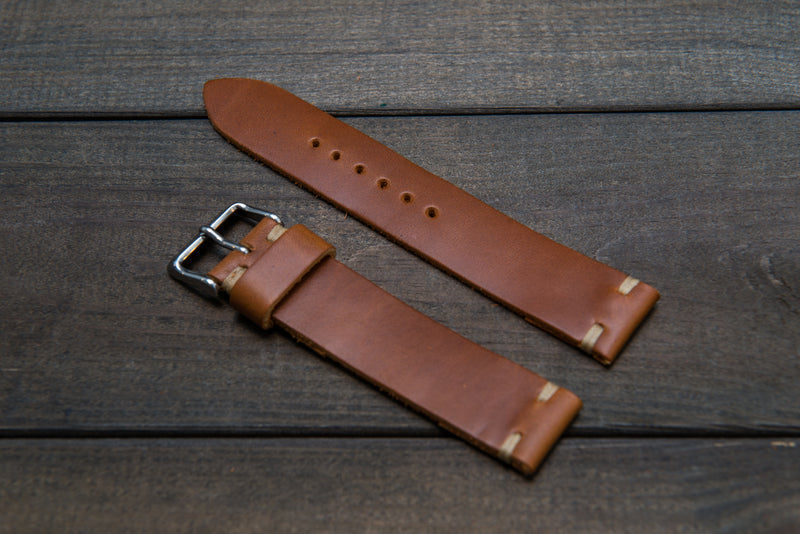 Whiskey Cavalier leather watch strap, handmade in Finland -10 mm,12 mm, 14 mm, 16mm, 17 mm, 18mm, 19 mm, 20mm, 21 mm, 22mm, 23 mm, 24mm, 25 mm, 26 mm. - finwatchstraps
