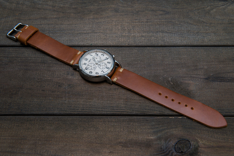 Whiskey Cavalier leather watch strap, handmade in Finland - finwatchstraps