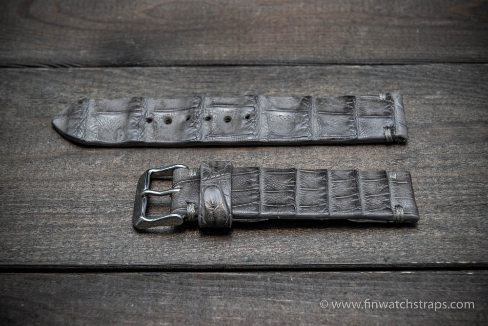 Alligator watch strap, Grey, handmade in Finland