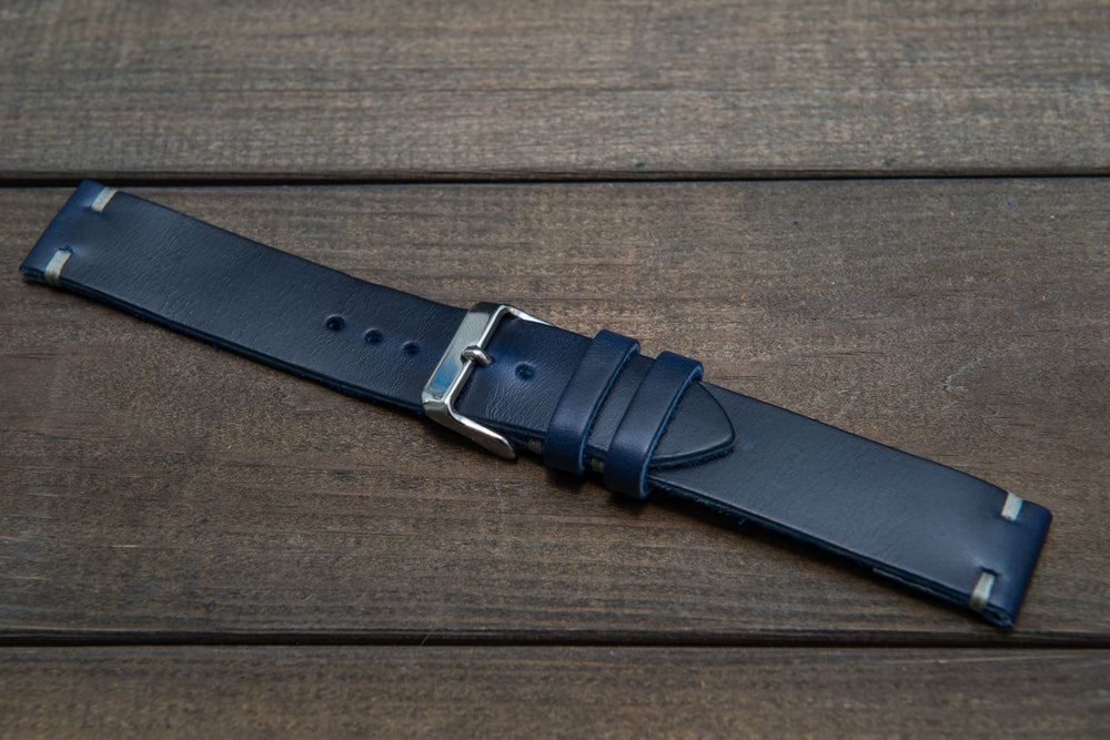 Deep Sea Horween Cavalier leather watch strap, handmade in Finland - 10 mm, 12 mm, 14 mm, 16mm, 17 mm, 18mm, 19 mm, 20mm, 21 mm, 22mm, 23 mm, 24mm, 25 mm, 26 mm.