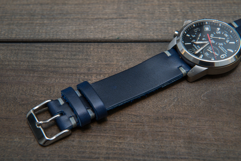 Deep Sea Horween Cavalier leather watch strap, handmade in Finland - 10 mm, 12 mm, 14 mm, 16mm, 17 mm, 18mm, 19 mm, 20mm, 21 mm, 22mm, 23 mm, 24mm, 25 mm, 26 mm. - finwatchstraps