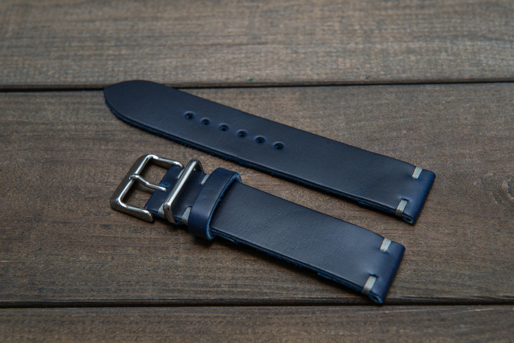 Deep Sea Horween Cavalier leather watch strap (ink-blue), handmade in Finland - 16mm, 17 mm, 18mm, 19 mm, 20mm, 21 mm, 22mm, 23 mm, 24mm, 25 mm, 26 mm. - finwatchstraps