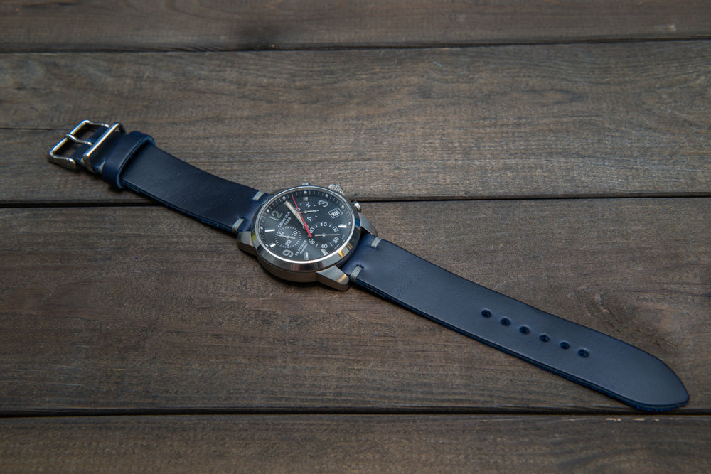 Deep Sea Horween Cavalier leather watch strap (ink-blue), handmade in Finland - 16mm, 17 mm, 18mm, 19 mm, 20mm, 21 mm, 22mm, 23 mm, 24mm, 25 mm, 26 mm.