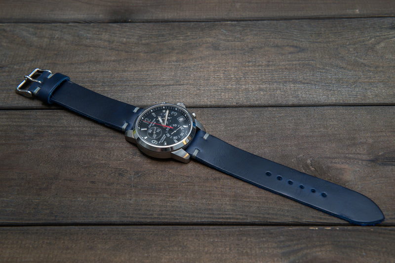 Deep Sea Horween Cavalier leather watch strap, handmade in Finland - finwatchstraps