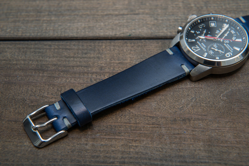 Deep Sea Horween Cavalier leather watch band, handmade in Finland. Tapered size: 26/22mm, 25/22 mm, 24/20mm, 23/20 mm, 22/18 mm, 21/18 mm, 20/16 mm, 19/16 mm