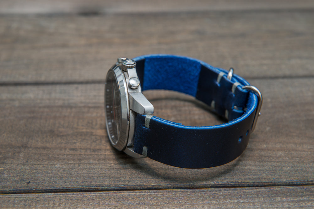 Deep Sea Horween Cavalier leather watch strap (ink-blue, Zulu), handmade in Finland - 16mm, 17 mm, 18mm, 19 mm, 20mm, 21 mm, 22mm, 23 mm, 24mm, 25 mm, 26 mm. - finwatchstraps