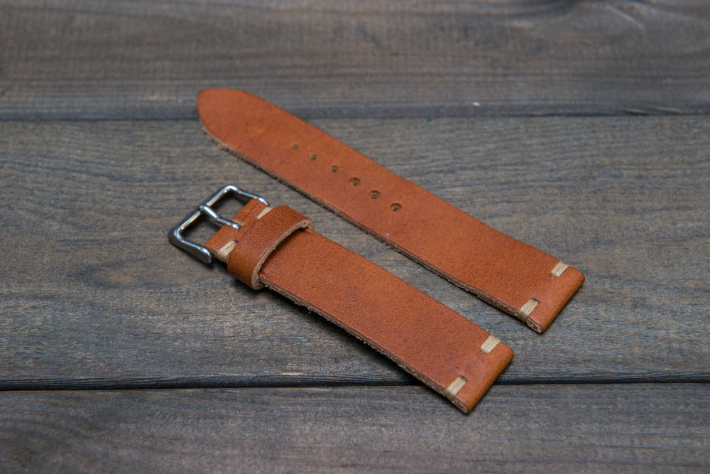 Horween Derby English Tan leather watch strap, handmade in Finland