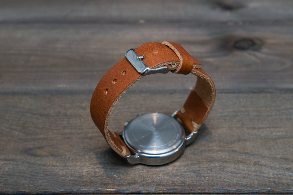 Derby English Tan leather watch strap, handmade in Finland - 16mm, 17 mm, 18mm, 19 mm, 20mm, 21 mm, 22mm, 23 mm, 24mm, 25 mm, 26mm. - finwatchstraps