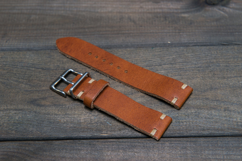 Derby English Tan leather watch strap 16mm, 17 mm, 18mm, 19 mm, 20mm, 21 mm, 22mm, 23 mm, 24mm. - finwatchstraps