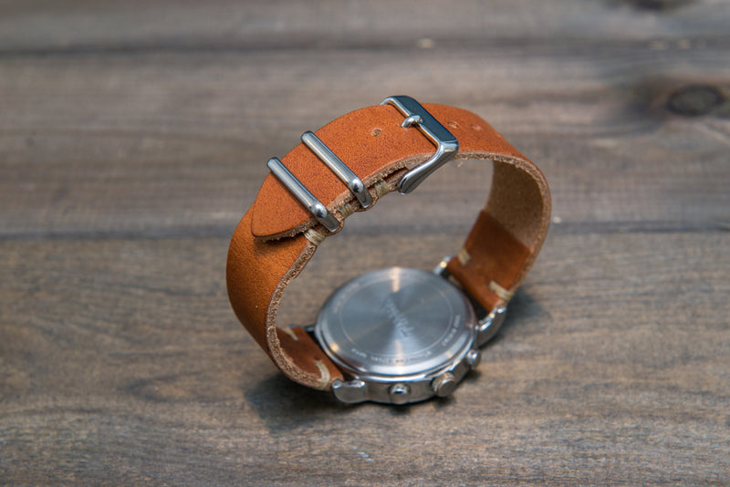 Derby English Tan leather watch strap, handmade in Finland - 16mm, 17 mm, 18mm, 19 mm, 20mm, 21 mm, 22mm, 23mm, 24mm.