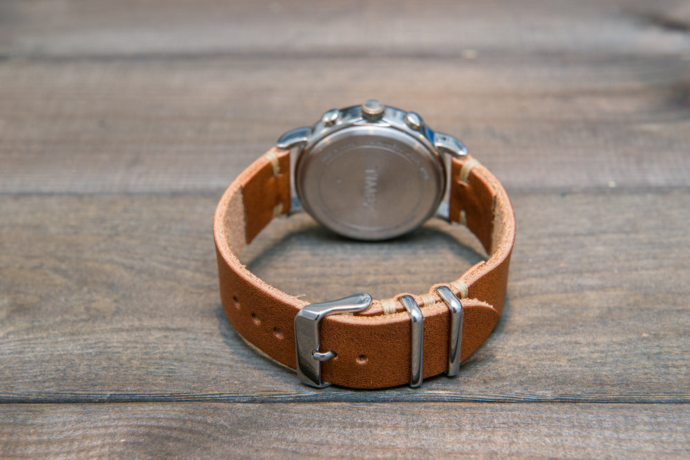 Derby English Tan leather watch strap, handmade in Finland - 16mm, 17 mm, 18mm, 19 mm, 20mm, 21 mm, 22mm, 23mm, 24mm. - finwatchstraps