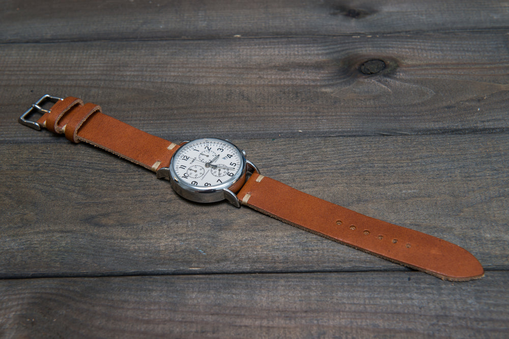 English Tan Horween leather watch strap, handmade in Finland - 10mm, 12 mm, 14 mm, 16mm, 17 mm, 18mm, 19 mm, 20mm, 21 mm, 22mm, 23 mm, 24mm, 25 mm, 26mm.