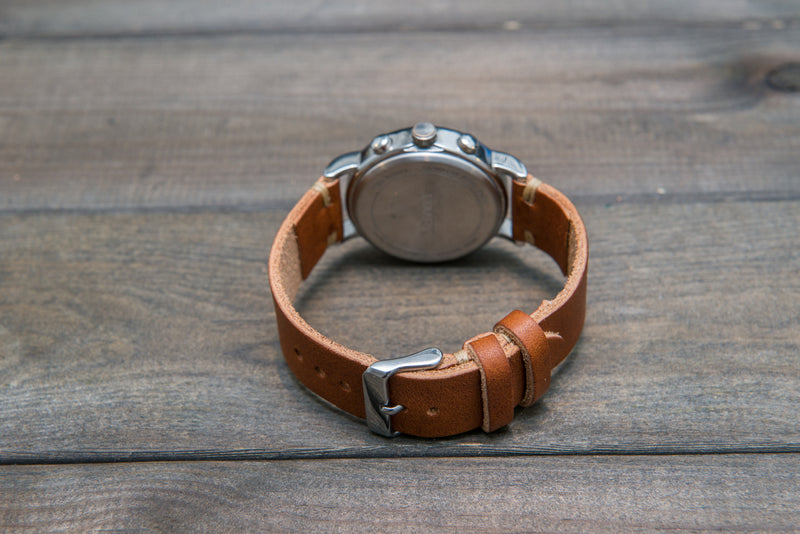 English Tan Horween leather watch strap, handmade in Finland - 10mm, 12 mm, 14 mm, 16mm, 17 mm, 18mm, 19 mm, 20mm, 21 mm, 22mm, 23 mm, 24mm, 25 mm, 26mm. - finwatchstraps