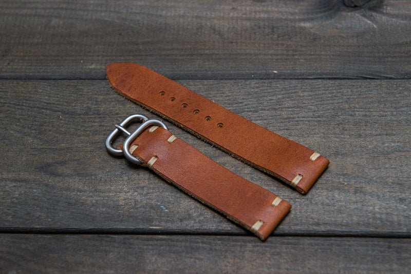 English Tan leather watch strap, handmade in Finland - 16mm, 17 mm, 18mm, 19mm, 20mm, 21 mm, 22mm, 23 mm, 24mm. - finwatchstraps