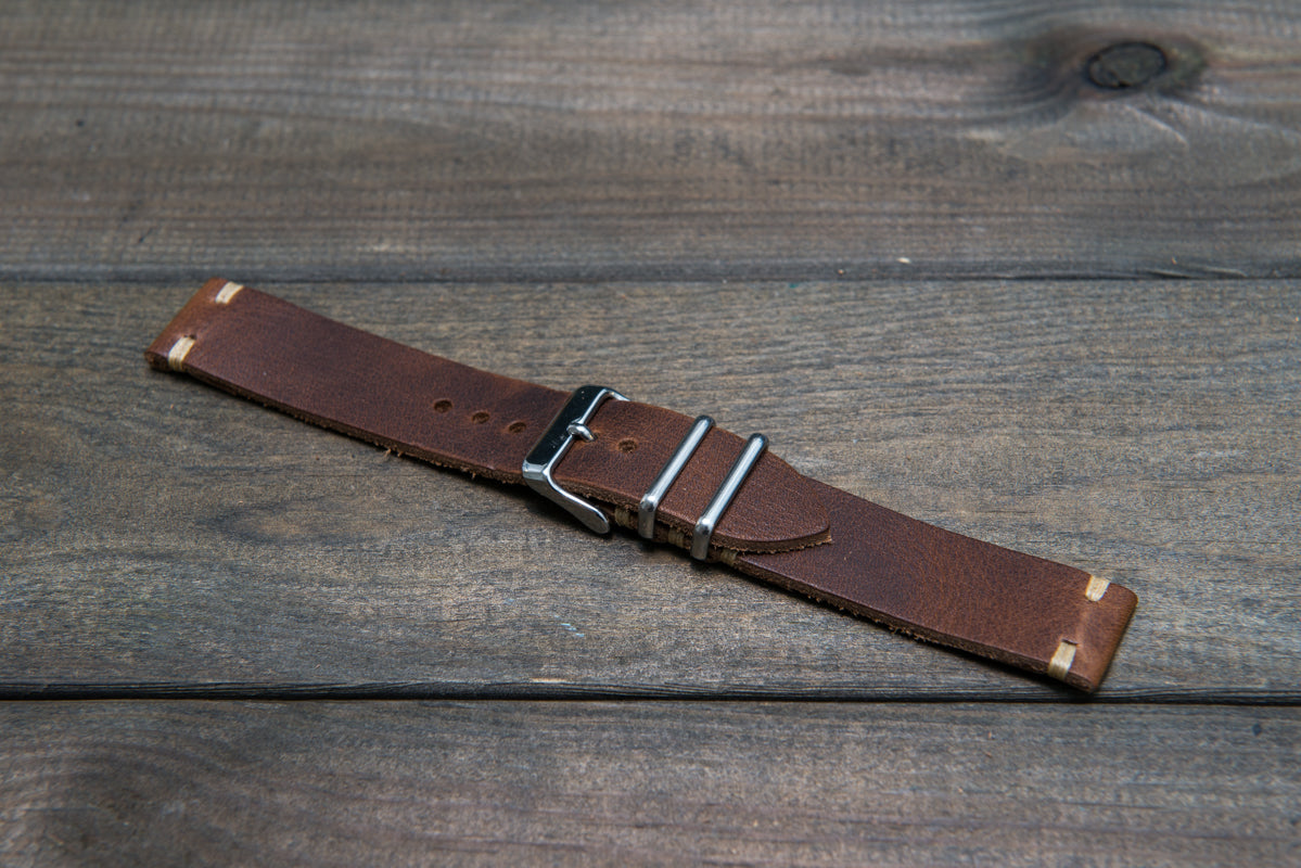 Derby Nut Brown leather watch strap, handmade in Finland - 16mm, 17 mm, 18mm, 19mm, 20mm, 21 mm, 22mm, 23 mm, 24mm.