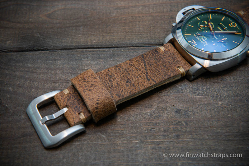 Wild African kudu leather watch strap. Handmade in Finland. 4 mm thick