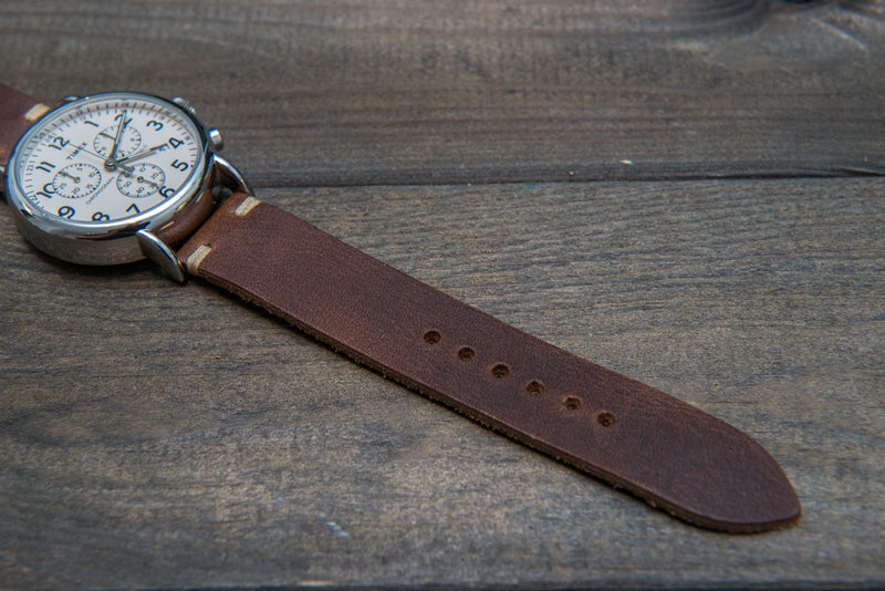 Derby Nut Brown leather watch band, handmade in Finland - finwatchstraps