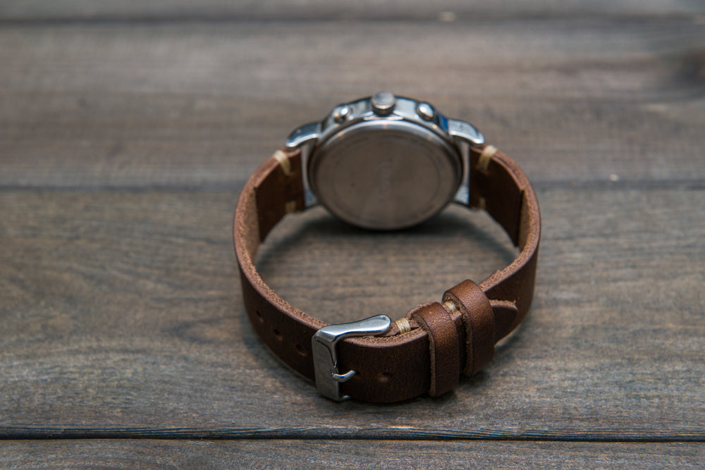 Derby Nut Brown leather watch band, handmade in Finland - 16mm, 17 mm,18 mm, 19 mm, 20 mm, 21 mm,22mm, 23 mm,24 mm, 25 mm, 26mm - finwatchstraps