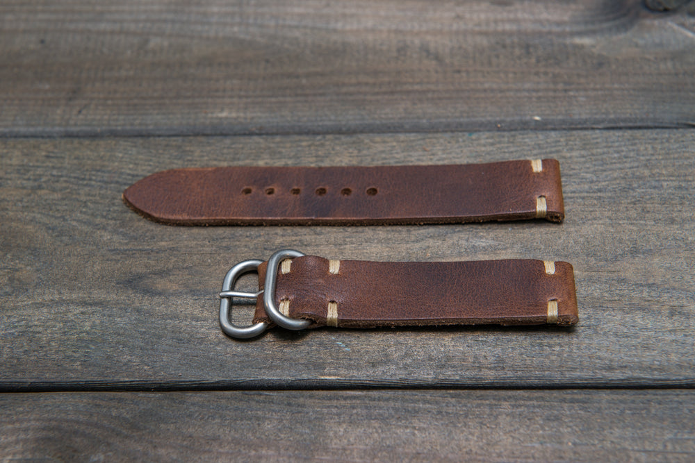 Derby Nut Brown leather watch strap, handmade in Finland - 16mm, 17 mm, 18mm, 19mm, 20mm, 21 mm, 22mm, 23 mm, 24mm. - finwatchstraps