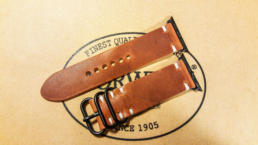 Apple Watch leather band 38mm, 42mm. Horween Dublin Cognac for iWatch - finwatchstraps