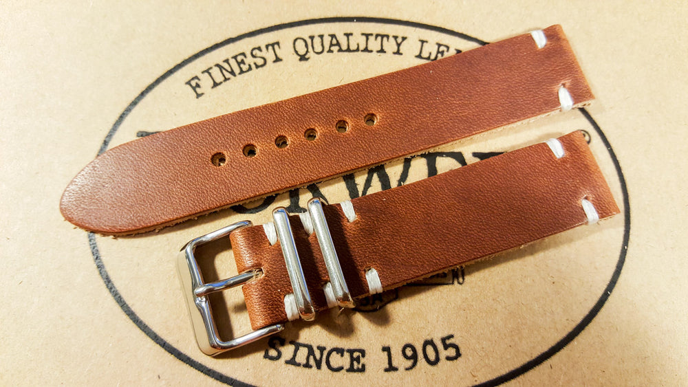 Horween Dublin Cognac leather watch strap, handmade in Finland - 16mm, 17mm, 18mm, 19 mm, 20mm, 21 mm, 22mm, 23 mm, 24mm.