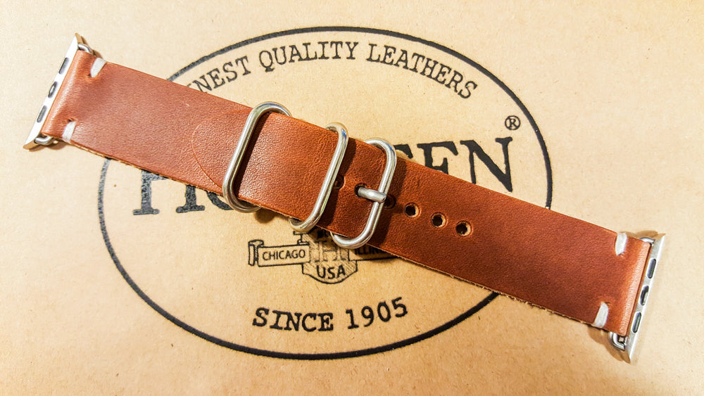 Apple Watch 2,3,4,5 leather band 40 mm / 44 mm. Horween Dublin Cognac for iWatch - finwatchstraps