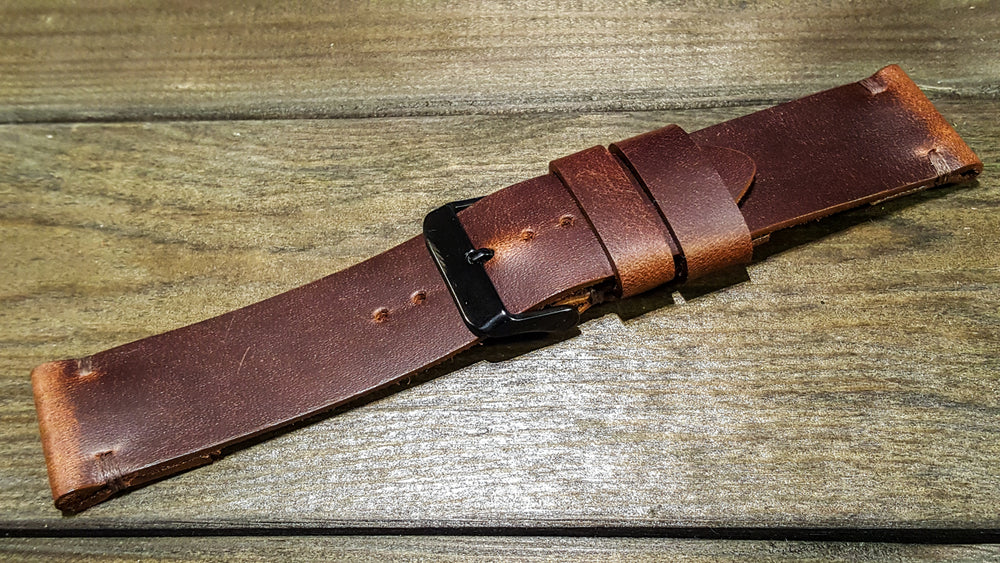 Phantom Waterproof Brown leather watch strap: 16 mm, 17 mm, 18 mm, 19 mm,  20mm, 21 mm, 22mm, 23 mm,  24mm, 25 mm, 26 mm. - finwatchstraps