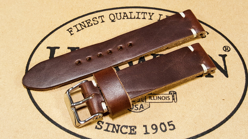 Tan Chromexcel 6/7 oz leather watch strap, handmade in Finland
