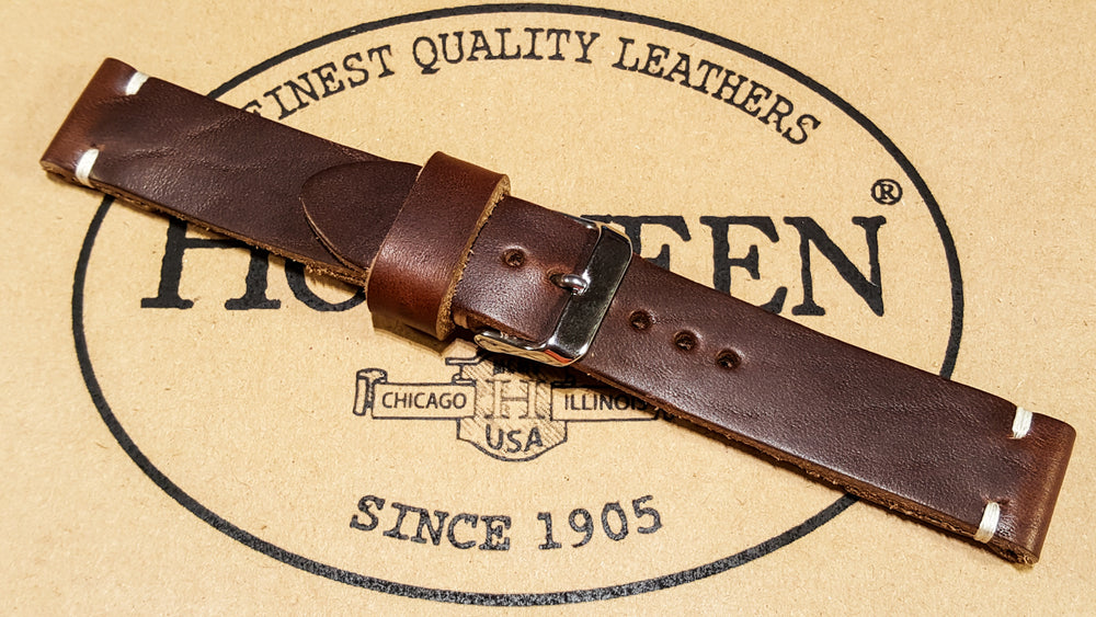 Tan Chromexcel 6/7 oz leather watch strap, handmade in Finland - 16mm, 17 mm, 18mm, 19mm, 20mm, 21 mm, 22mm, 23 mm, 24mm, 25 mm, 26mm - finwatchstraps